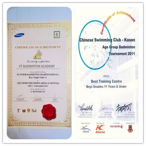 badminton academy best training centre achievement singapore stba 2011